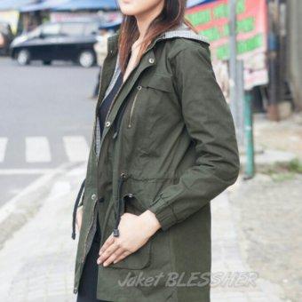 BlessHer ERDS Jaket Parka Wanita Premium Baby Canvas 5402 - Green Army