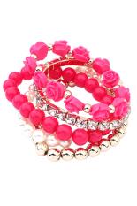 BlueLans Acrylic Rose Flower Faux Pearl Rhinestone Elastic Bracelet Red