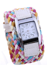 Blue Lans Women's Braided Plaited White Rope Wrap Strap Watch