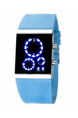 Bluelans Unisex Sports Silicone Digital LED Time Date Wrist Watch Light Blue