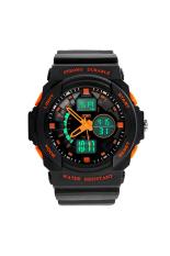 Bluelans Men's Double Time Stopwatch Mountaineer Quartz Wrist Watch Orange