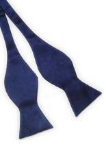 Blue Lans Solid Plain Silk Self Tie Bow Tie Dark (Blue)