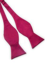 Blue Lans Solid Plain Silk Self Tie Bow Tie (Purple)
