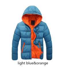 Blue&Orange Splice 2017 NEW Arrived Autumn Winter Duck Down Jacket Hooded Winter Jacket For Men Fashion Mens Joint Outerwear Coat Plus Size