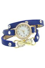 Bluelans Women's Blue Faux Leather Rhinestone Bracelet Wrist Watch