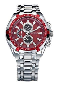 Bluelans® Curren olahraga jam tangan stainless steel (Perak Merah)