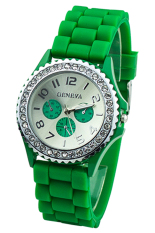 BlueLans Green Crystals Rubber Silicone Gel Jelly Strap Watch
