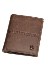 Bluelans Men's Faux Leather Bifold Card Holder Wallet Handbag Coffee Vertical