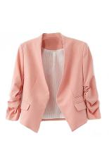 Bluelans Women's Fashion Korea Solid Slim Suit Blazer Coat Jacket Pink