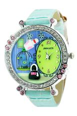 Bluelans Womens Polymer Clay Crystal Leather Quartz Wrist Watch Blue