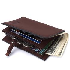 BOGESI dompet Fashion laki-laki pu tas dengan ritsleting warna coin Bag (kopi)