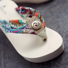 Bohemia high-heeled cool slippers female 2017 summer new beach shoes slope with pinch foot flip - intl