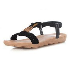 Bohemia Retro Style Womens Ladies Elastic Strappy Flat Open Toe Summer Beach Shoes Sandals Black (INTL)