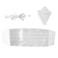 BolehDeals 3pcs Men's Satin Bow Tie Cummerbund Hanky Handkerchief White