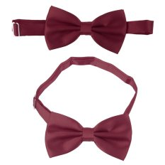 BolehDeals 3pcs Men's Satin Bow Tie Cummerbund Hanky Handkerchief Wine Red - INTL