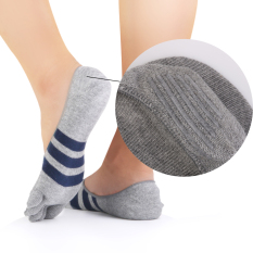 BolehDeals Footful Stripes Cotton Five Fingers Toe Sock Invisible Socks For Men Grey