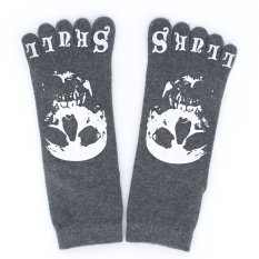 One Pair Mens Five Toes Crew Socks - Dark Gray with Skull Pattern