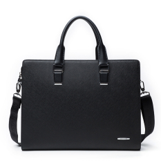 Bostanten Cow Leather Handbag Briefcase Laptop Bag For Men (Black)