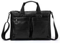 Bostanten Men's Genuine Leather Shoulder Bag Handbag Messenger Bag Black