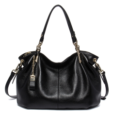 Bostanten Women's Genuine Cowhide Leather Handbag Fashion Shoulder Bag Black