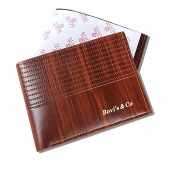 Best Price Bovis Dompet Pria Import Fashion Wallet 6 Inchi F027 PU Leather - Deep Brown