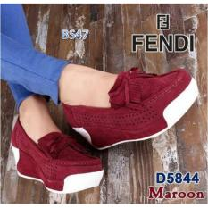 BS Sepatu Wedges Slip on Fendi 49 Merah Maroon