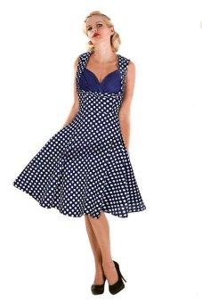 Buenos Ninos Retro Audrey Hepburn Woman Vintage 50s 60s Dress Big Swing Polka Dot Backless Dress