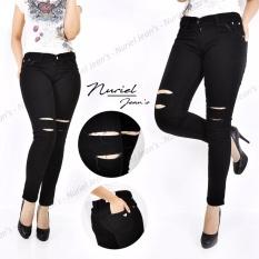 Bumi Raya - Celana Jeans Wanita – Premium Quality – Skinny Sobek – BM002 Black