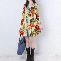 Bunga Seksi Perempuan Kain Lengan Leher V Panjang Baju Gaun Mini Cantik Aprikot Party