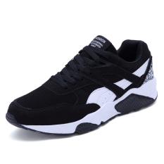 Busana Kasual Pria Renda Lari Sepatu Sneakers (Hitam)