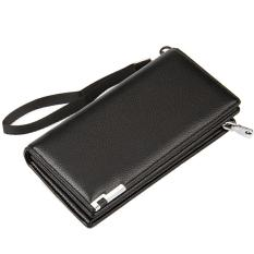 Business Men Money Change Credit Cards Holder Clutch Handbag PU Leather Casual Wallet Long Zipper Purse Black - Intl