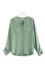 Button Pocket Women Casual T Shirt Chiffon Blouses (Green)