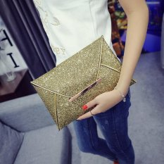 (Buy 1 Get 1 Free Gift) Fashion Elegant Ladies Glitter Sequins Clutch Bag Party Evening Envelope Shiny Purse (gold) - intl