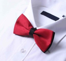 BUYINCOINS Fashion New Mens Plain Bowtie Polyester Pre Tied Wedding Bow Tie