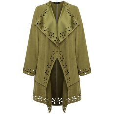 C1S Cool Cardigan Solid Long Straight Coat Outerwear (Army Green) - Intl