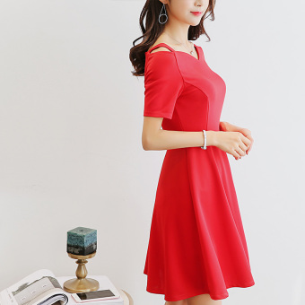 Caidaifei versatile solid Plus-sized slimming casual dress (Merah)