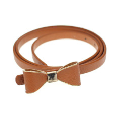 Candy Leather Women Skinny Butterfly Bow Waist Belt Waistband Brown