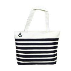 Canvas Black Anchor Pattern Shopping Shoulder Bags Women Handbag Beach