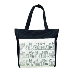 Canvas Cartoon Cat Pattern Girls Shopping Shoulder Bags Handbag Beach White