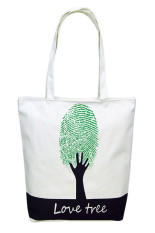 Canvas Fingerprint Tree Pattern Shopping Shoulder Bags Handbag Beach