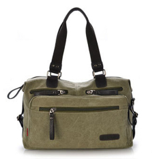 Canvas Travel School Casual Messenger Bag Bookbag (Army Green)