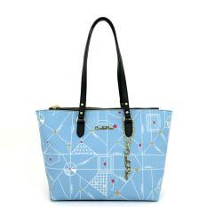 Carlo Rino 0303701-018-33 Double Zipper Tote (Blue)