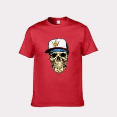 Cartoon Skull Heads Design Short-sleeved T-shirt Fitted Pure Cotton Base T-shirt Red Size Of Woman S - Intl