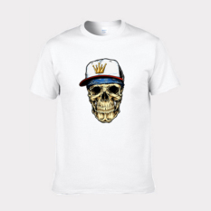 Cartoon Skull Heads Design Short-sleeved T-shirt Fitted Pure Cotton Base T-shirt White Size Of Man S - Intl