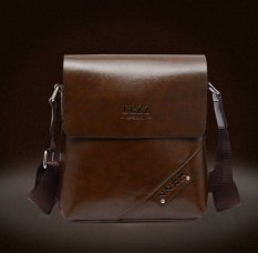 Casual Crossbody Bag Genuine Cowhide Leather Satchel Bag Men Business Messenger Bags One Shoulder Bag (Brown) - Intl