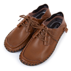 Casual Male Breathable Leather Lace-Up Handwork Shoes (Earthy) - Intl