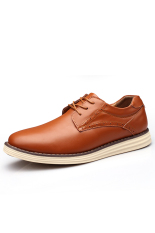 Casual Men Genuine Leather Shoes Fashion Lace Up Men Shoes (Brown) (Intl)