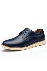 Casual Men Genuine Leather Shoes Fashion Lace Up Men Shoes (Deep Blue) (Intl)