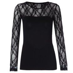 Casual Scoop Neck Long Sleeves Lace Splicing T-Shirt For Women (Intl)