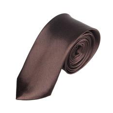 Casual Slim Plain Mens Solid Skinny Neck Party Wedding Tie Necktie Coffee